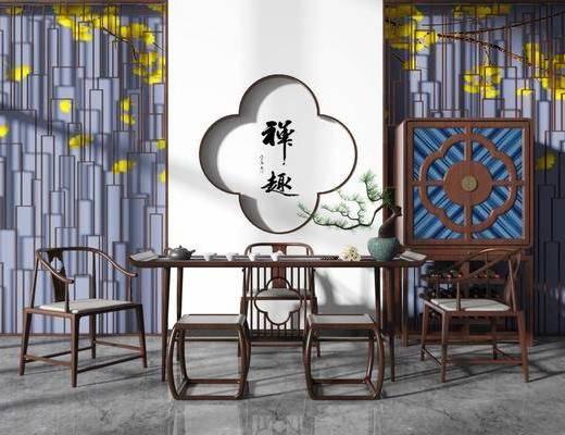 桌椅组合, 茶桌, 单人椅, 花瓶绿植, 茶具, 边柜, 新中式