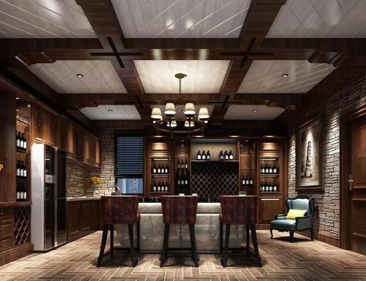 酒窖, 吧台, 吧椅, 吊灯, 单人沙发, 装饰柜, 酒柜, 装饰画, 挂画, 装饰品, 陈设品, 单人椅, 美式