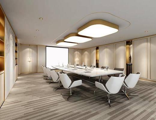 会议室, 办公桌, 办公椅, 单人椅, 吸顶灯, 吊灯, 现代