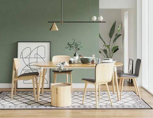 北欧餐厅, 餐桌椅组合, 北欧餐桌椅组合, 现代餐厅