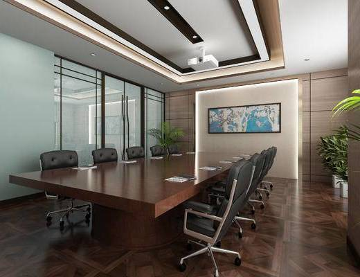 现代会议室, 会议桌, 办公椅, 桌椅组合, 投影, 装饰画