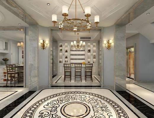 厨房, 酒吧, 餐桌, 餐椅, 单人椅, 装饰柜, 酒柜, 壁灯, 吊灯, 吧台, 吧椅, 橱柜, 摆件, 装饰品, 陈设品, 美式