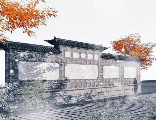 景墙, 照壁, 园林景观小品, 古建筑