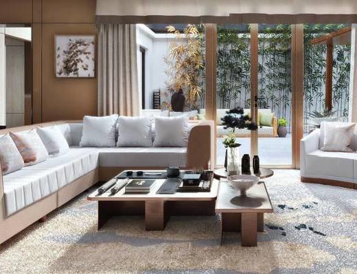 新中式, 新中式客厅, 沙发组合, 挂画, 茶几