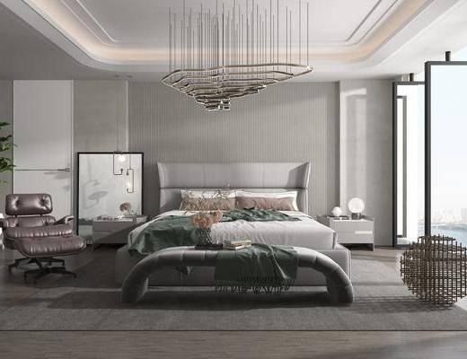 双人床, 床头柜, 吊灯, 单椅, 床尾踏