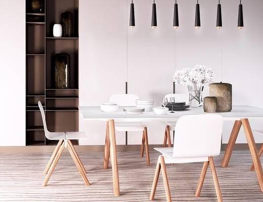 北欧简约, 桌椅组合, 餐桌椅, 餐具, 组合, 北欧