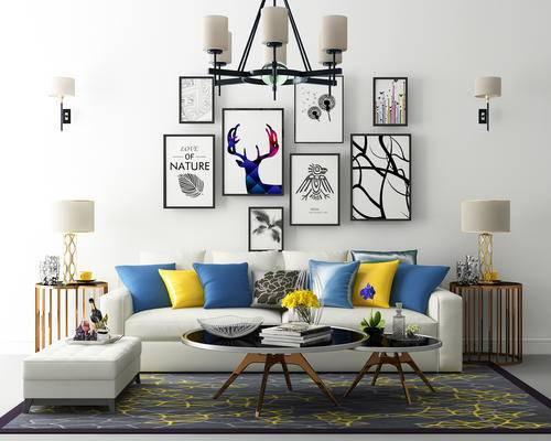 客厅, 沙发, 装饰画, 吊灯, 茶几, 台灯, 壁灯