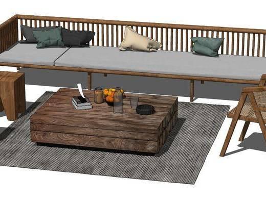 现代实木沙发茶几组合