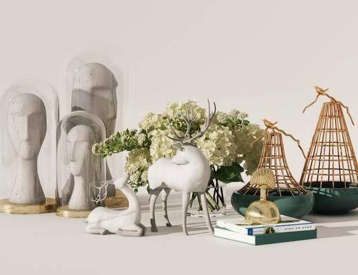 现代摆件, 摆件组合, 花瓶, 鹿, 雕塑