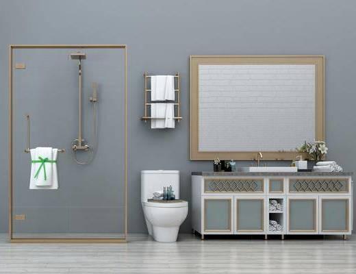 现代淋浴房, 现代, 淋浴房, 洗手盆, 淋浴间, 马桶