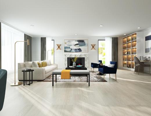 现代沙发, 沙发组合, 现代客厅, 北欧客厅, 客厅, 沙发茶几组合