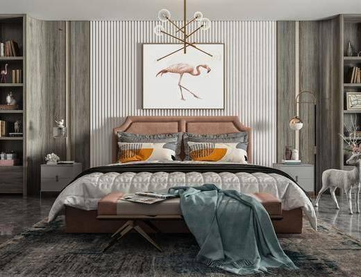 双人床, 床头柜, 吊灯, 挂画, 抱枕, 地毯, 落地灯