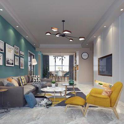 客厅, 单人沙发, 双人沙发, 布艺沙发, 边几, 台灯, 茶几, 装饰画, 挂画, 摆件, 餐桌, 餐椅, 单人椅, 吊灯, 北欧
