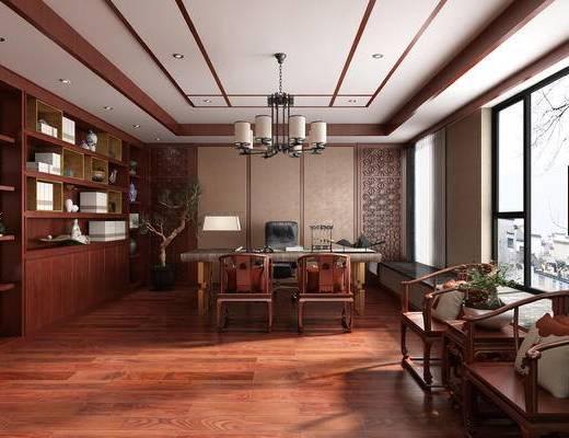 办公室, 中式, 新中式, 吊灯, 经理室, 中式办公室