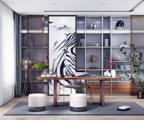 桌椅組合, 書柜, 置物柜, 擺件組合, 盆栽植物