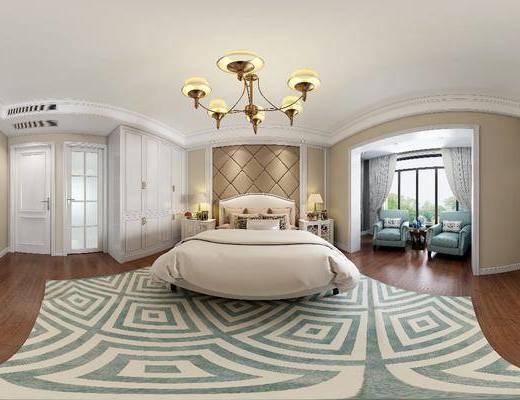 卧室, 卧室全景, 双人床, ?#39184;?#26588;, 台灯, 吊灯, 单人沙发, 边几, 电视柜, 装饰柜, 边柜, 衣柜, 简欧