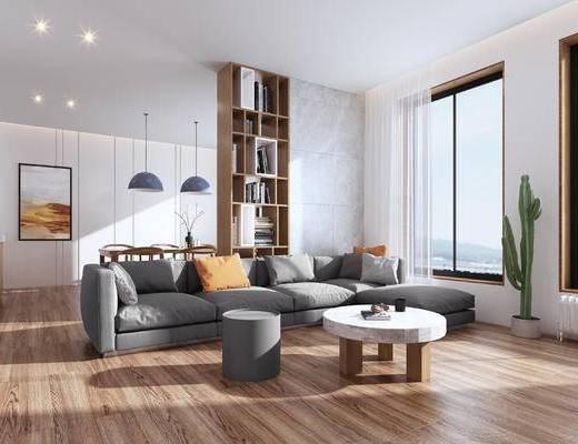 厨房, 沙发组合, 茶几, 吊灯, 电视柜
