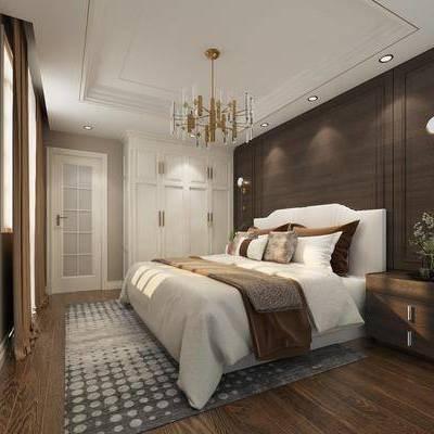 卧室, 双人床, 床头柜, 衣柜, 壁灯, 吊灯, 美式