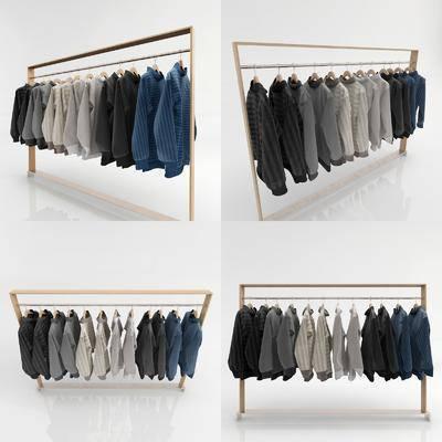 服装鞋帽, 衣架, 衣服衣架组合, 现代