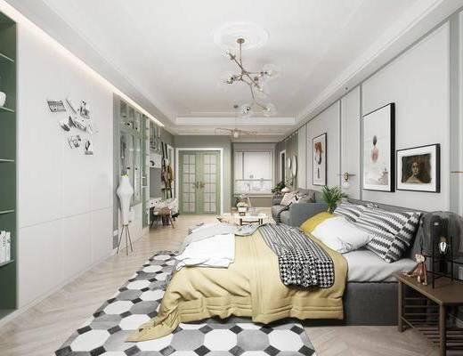 吊灯, 装饰画, 单人床, 沙发组合, 桌椅组合, 墙饰