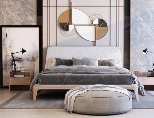 床具组合, 双人床, 墙饰, 床头柜, 台灯, 地毯