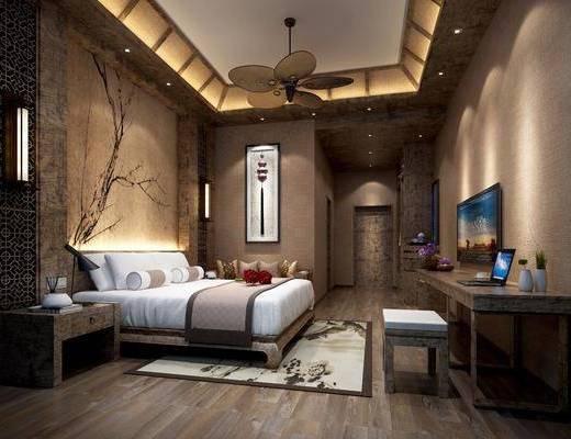 新中式酒店客房, 新中式客房, 客房, 新中式床具, 床头柜, 吊扇, 桌子, 壁灯, 沙发