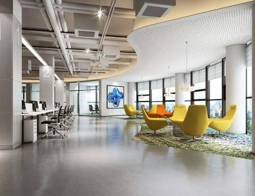 办公区, 茶桌, 单人椅, 休闲椅, 书桌, 电脑, 现代, 双十一