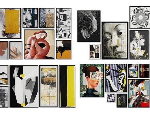 照片墙, 挂画组合, 装饰画, 组合画, 人物画, 现代