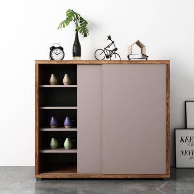 现代, 鞋柜, 陈设品, 边柜, 摆件, 闹钟, 装饰画, 挂画