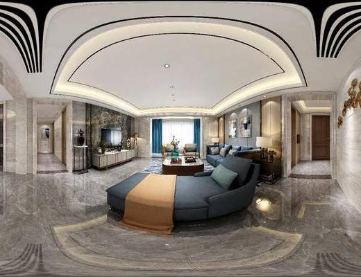 家装全景, 客厅, 多人沙发, 躺椅, 单人沙发, 茶几, 边几, 台灯, 电视柜, 边柜, 落地灯, 餐厅, 摆件, 装饰品, 陈设品, 装饰画, 挂画, 餐桌, 餐椅, 单人椅, 现代