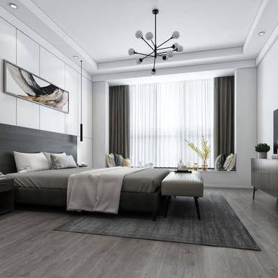 现代卧室, 现代, 卧室, 现代吊灯, 床头柜, 花瓶