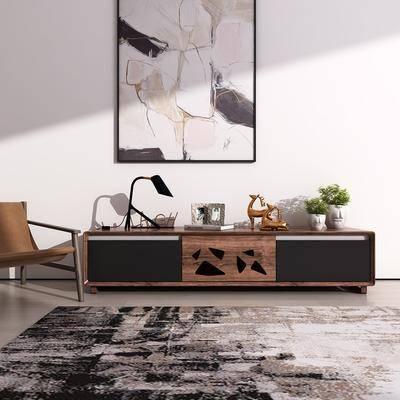 边柜, 电视柜, 台灯, 摆件, 装饰画, 地毯, 现代