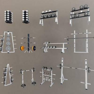 健身房设备, 现代, 哑铃, 健身房