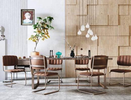 餐桌, 桌椅组合, 吊灯, 植物, 挂画