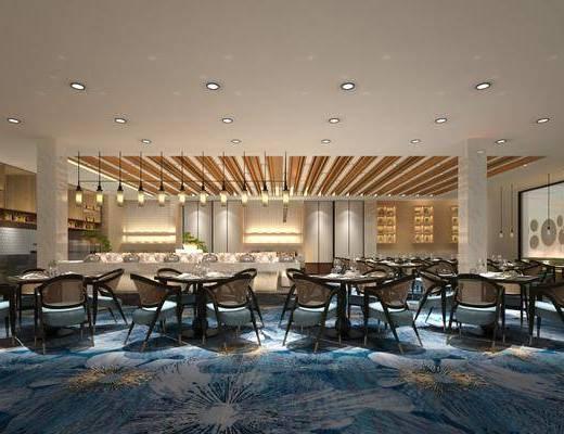 酒店餐厅, 自助餐厅, 桌椅组合, 餐桌, 餐椅, 单人椅, 吊灯, 前台, 盆栽, 绿植, 植物, 现代