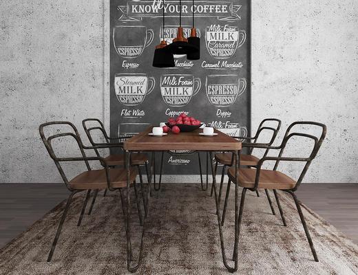 工业风, 桌椅组合, 吊灯, 水果, 茶具组合