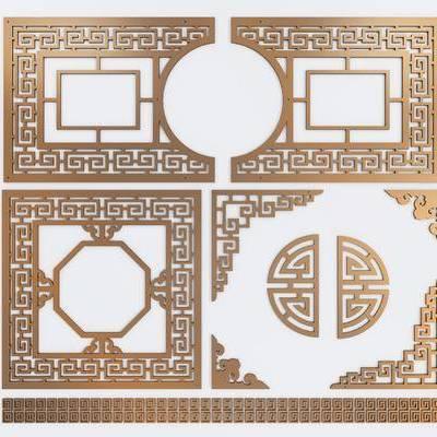 隔断, 屏风, 雕花, 新中式隔断, 新中式雕花, 镂空, 金属, 新中式