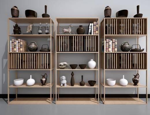 中式书架, 中式, 书架, 装饰架, 装饰品, 摆件