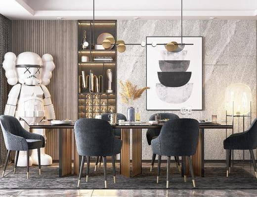 餐桌, 桌椅组合, 吊灯, 装饰画, 置物柜