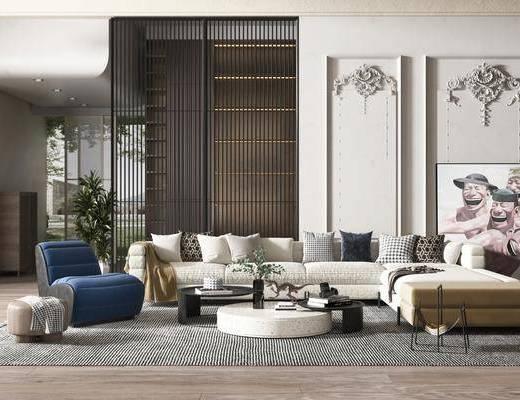 现代简约, 客厅, 多人沙发, 边几, 盆栽, 装饰画, 摆件