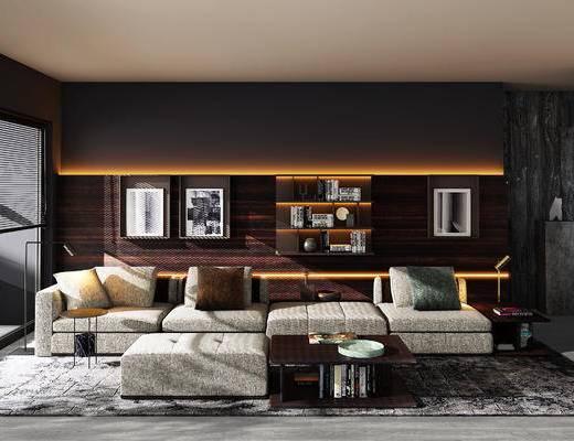 意大利Molteni&C品牌, 现代沙发组合, 多人沙发, 茶几, 书柜, 装饰柜