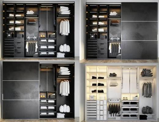 衣柜, 衣物, 毛巾, 抱枕, 衣服, 鞋子, 衣架, 旅行箱, 收纳箱