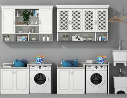 卫浴, 洗衣机, 橱柜, 摆件, 装饰品, 陈设品, 现代
