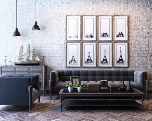 美式沙发组合, 多人沙发, 沙发椅, 茶几, 吊灯, 挂画, 边柜, 摆件, 美式