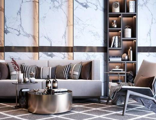 沙发组合, 茶几组合, 摆件组合, 单椅, 地毯, 抱枕