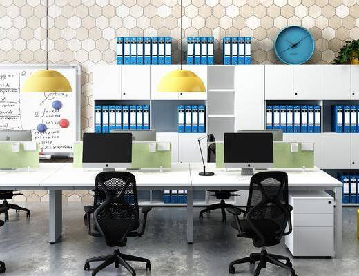 办公桌, 办公椅, 摆件, 吊灯, 现代, 装饰柜