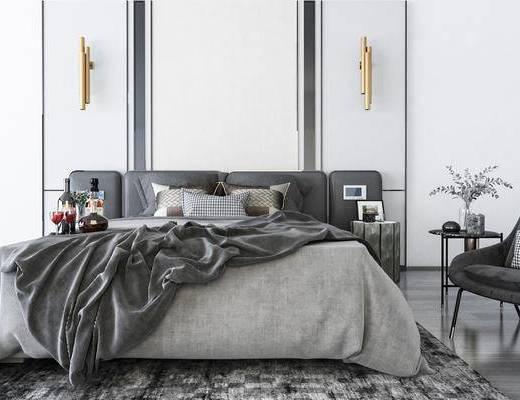 床具组合, 摆件组合, 壁灯, 现代