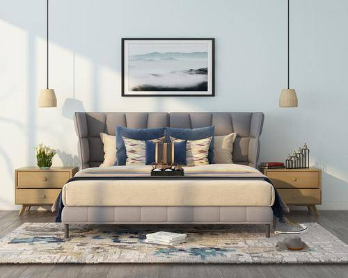 双人床, 床头柜, 吊灯, 装饰画, 挂画, 摆件组合, 北欧