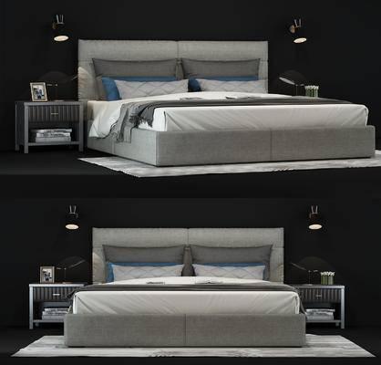 床, 床品, 床头柜, 灯