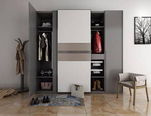 现代衣柜服装饰品组合, 衣柜, 衣帽架, 椅子, 鞋子, 包包衣服, 行李箱